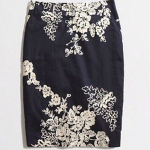 J. CREW The Pencil Skirt Blue w/ Embroidery 14